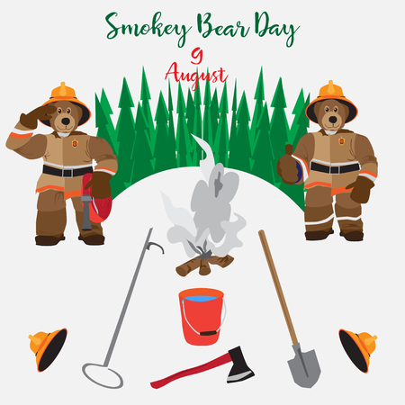 Vector Smokey Bear Day poster. Tools and equipment manual fire symbols, icons in flat style.