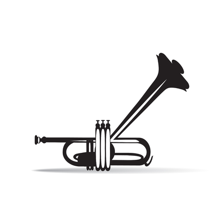 cornet: Trumpet isolated, black and white vector illustration. Wind brass musical instrument in flat style.