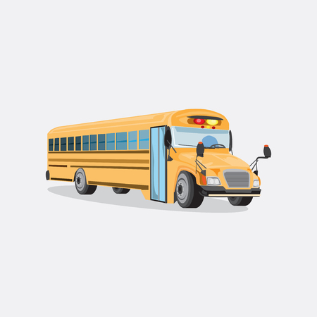Vector illustration of yellow school bus. Flat style design.