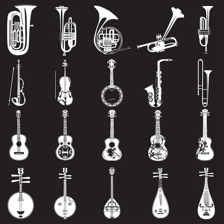Vector set of musical instruments white templates on black background. Wind, string bowed and plucked musical instruments in flat style. Ilustração