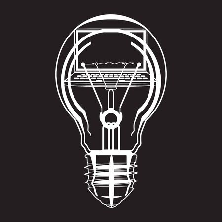 Nice Laptop Inside Of Light Bulb Black And White Vector Illustration. Creative  Idea, Software Development