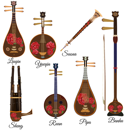 Vector set of chinese string and wind musical instruments, flat style. Ilustração