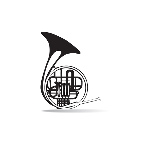 woodwind: Vector illustration of black and white french horn, flat style design. Illustration