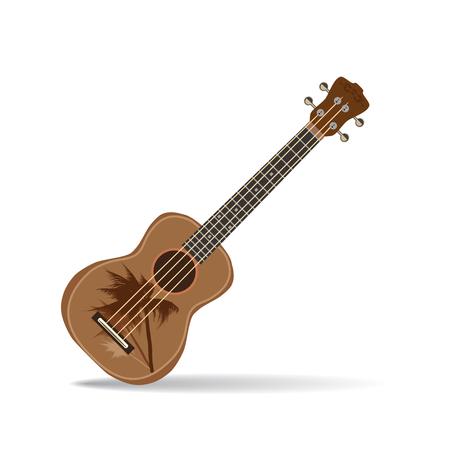 Vector illustration of hawaiian guitar ukulele isolated on white background. Illustration