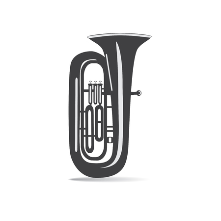 Black and white tuba isolated, vector illustration