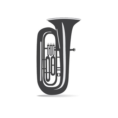 Tuba noir et blanc isolé, illustration vectorielle