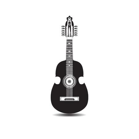 Vector illustration of cuatro, Latin American black and white guitar Illustration