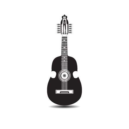 Vector illustration of cuatro, Latin American black and white guitar Illustration