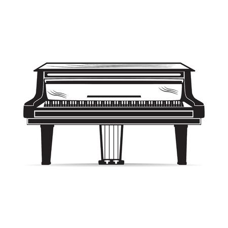그랜드 피아노 악기의 벡터 평면 그림입니다.