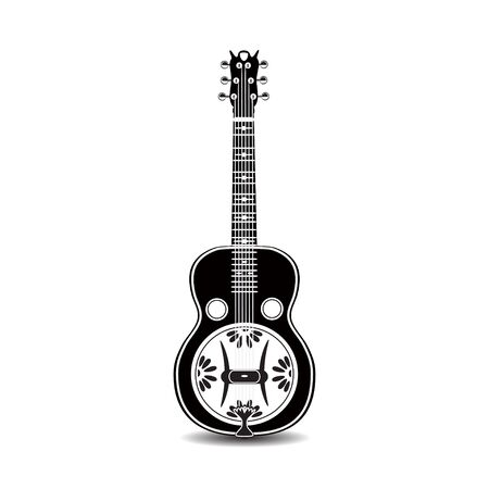 Vector illustration of black and white resonator guitar isolated on a white background.