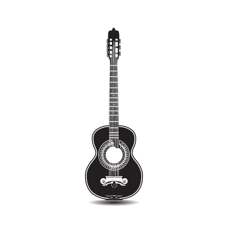 Vector illustration of classic guitar in flat style Ilustrace