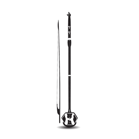 Vector black and white chinese erhu isolated on white background. Иллюстрация