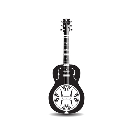 Vector illustration of black and white dobro, american resonator isolated on white background.