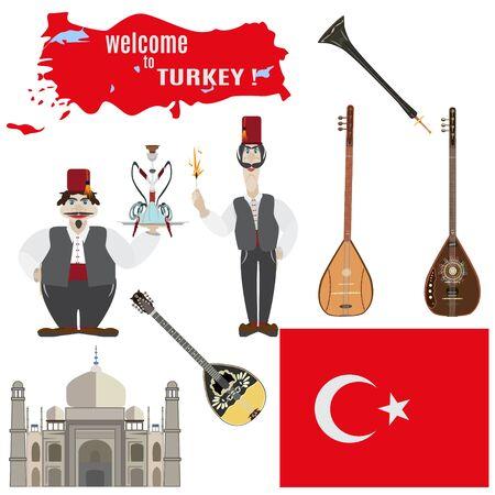 saz: Set of turkish symbols in flat style Illustration