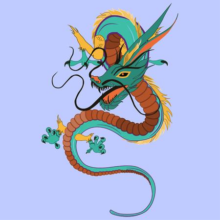 legendary: Chinese dragon vector illustration. legendary creature of Chinese mythology, flat style design.