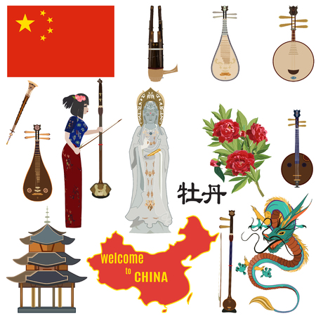 Vector set of chinese symbols. Welcome to China concept design elements, icons in flat style. Guanyin, the Goddess of Mercy, flag, map, dragon, peony flower, ethnic folk musical instruments. Ilustração