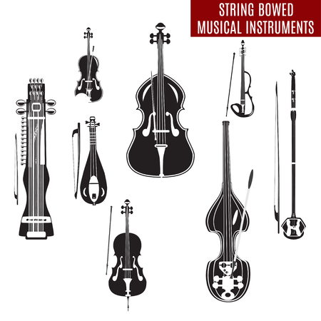 Vector set of black and white string bowed musical instruments in flat design. Classical and electric violin, double bass, erhu, rebec, cello, sarangi isolated on white background.