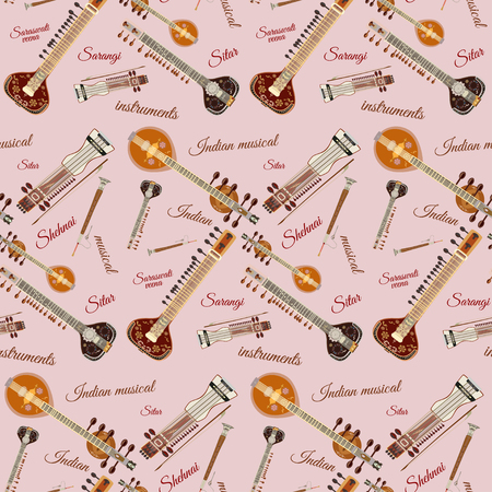 Pattern with indian musical instruments. Sarangi, sitar, saraswati veena and shehnai symbols. Illustration