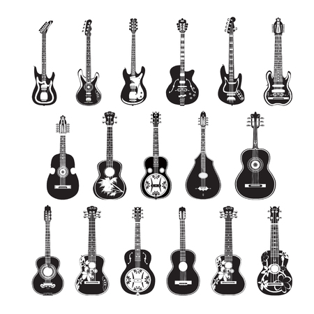Vector set of guitar icons isolated on white background. Black and white string musical instruments in flat style. Vetores