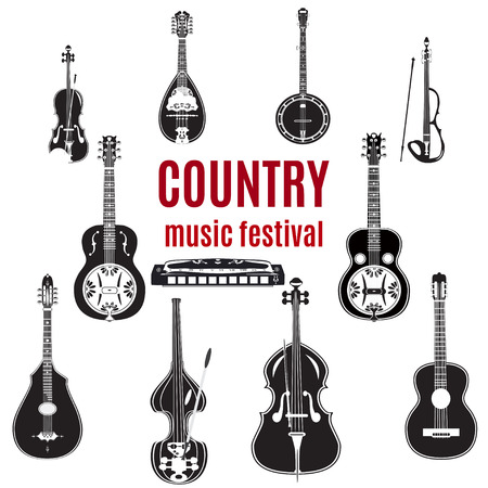 the resonator: Country music instruments. Black and white flat style design elements isolated on white .