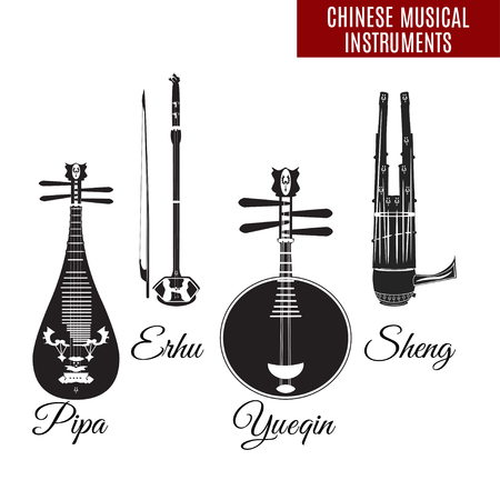 Set of black and white chinese string and wind musical instruments, flat style. Pipa, erhu, sheng and yueqin icons isolated on white . Ilustração