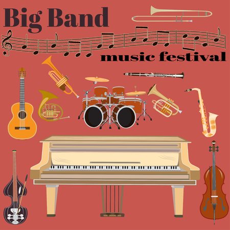 Set of jazz band musical instruments. Big band music festival template. Grand piano, drum kit, guitar, clarinet, sax, french horn, trumpet, trombone and double bass, treble clef in flat style Ilustração