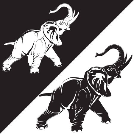 Black and white Asian elephants. Illustration