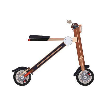 motorizado: Bicicleta de scooter motorizada aislada en diseño plano del estilo.