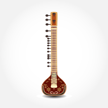 Illustration of sitar, string plucked musical instrument.