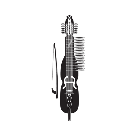 Vector illustration of traditional swedish nyckelharpa. Black and white musical instrument isolated on white background, flat style. Ilustrace