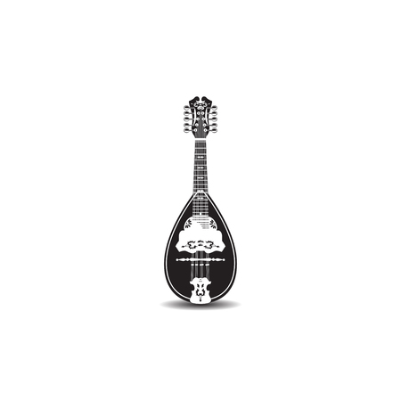 Vector illustration of mandolin isolated on white background. Black and white resonator musical instrument. Folk music mandolin. Illustration