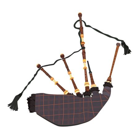 Scottish bagpipe vector flat illustration