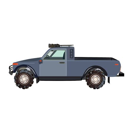 Pickup truck flat vector illustration
