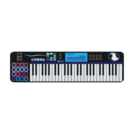 Synthesizer isolated, vector illustration