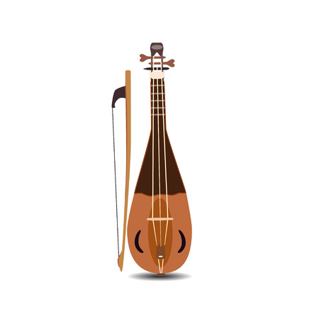 Vector illustration of rebec violin with bow isolated on white background.