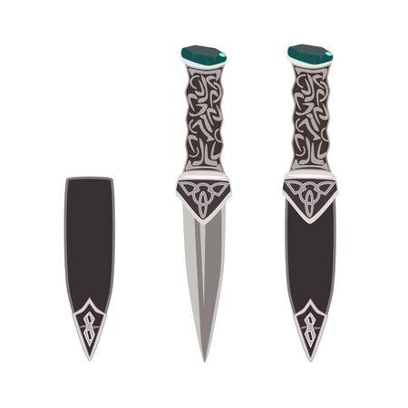 british culture: Vector flat illustration of sgian dubh, scottish black knife.