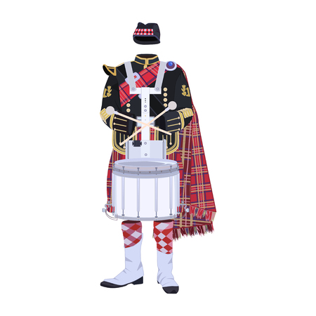 Scottish traditional clothing with drum flat vector illustration