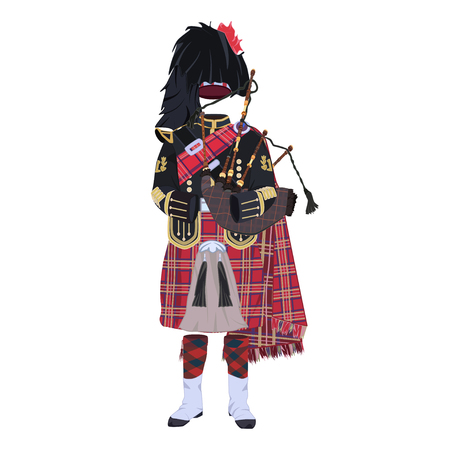 Scottish traditional clothing with bagpipes flat vector illustration