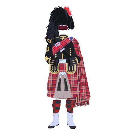 Scottish traditional clothing flat vector illustration