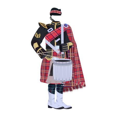 Scottish traditional clothing with tenor drum vector illustration Illustration