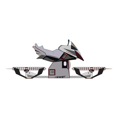 Vector illustration of flying hover bike. Hovering motorcycle, hovercraft, new fun personal transport flat style design element.