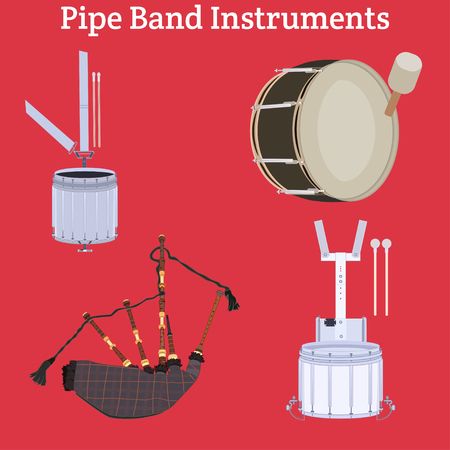 Vector set of scottish or irish pipe band musical instruments. Tenor drum, snare drum, bass drum and bagpipes.