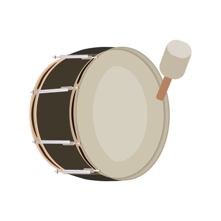 tenor: Vector illustration of pipe band bass drum, musical instrument isolated on white background. Illustration