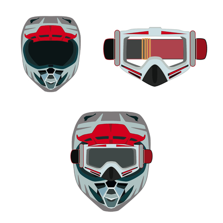 Vector illustration of race motorcycle, hovering motorcycle protective gear. Motorcycle riding or race helmet and goggles icons isolated on white background. Flat style design.