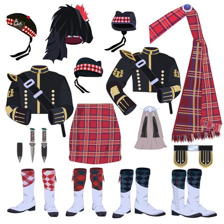 brogues: Scottish traditional clothing vector icon set. Scottish highland wear or highland dress items.