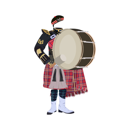 Vector illustration of scottish traditional clothing with pipe band bass drum isolated on white background.