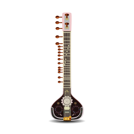 Vector illustration of indian sitar isolated on white background. Illustration