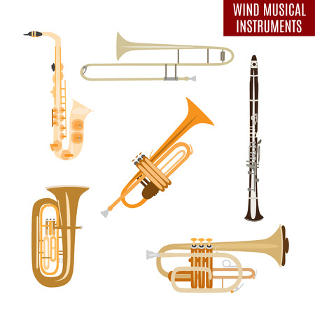 Set of wind musical instruments Illustration