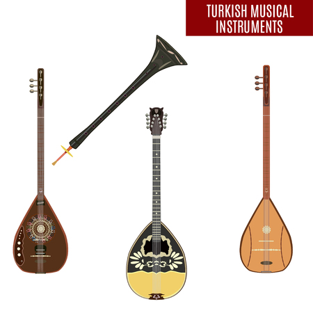 Set of traditional Turkish musical instruments Illustration
