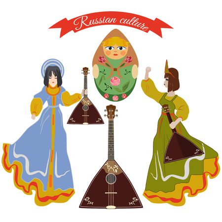 muñecas rusas: Conjunto de elementos de diseño de la cultura rusa Vectores